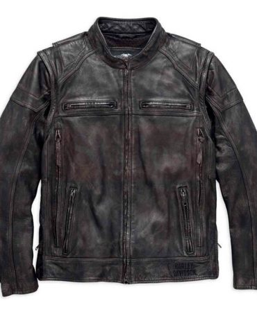 Harley Davidson Men's Dauntless Convertible Motorcycle Leather Jacket Motorcycle Collection Free Shipping