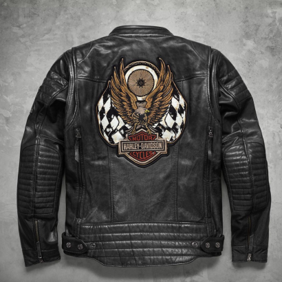 Harley Davidson Men embroidery Eagle Design Natural Leather Jacket Motorcycle Collection Free Shipping