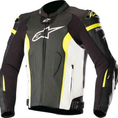 Alpinestars Missile Tech Air Leather Jacket Black White Fluro Yellow MotoGP Leather Jackets Free Shipping