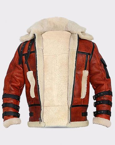 Sheepskin RAF Men's B6 Waxed Bomber Shearling Two Tone Style Leather Jacket Bomber Leather Bombers jackets Free Shipping