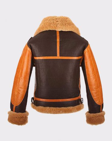 B3 Brown Shearling Sheepskin Mens Bomber Leather Jacket Leather Bombers jackets Free Shipping