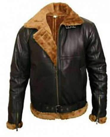 Black Bomber Ginger Style Faux Shearling Leather Jacket Leather Bombers jackets Free Shipping