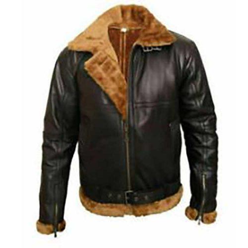 Black Bomber Ginger Style Wilson Leather Bomber Jacket Leather Bombers jackets Free Shipping