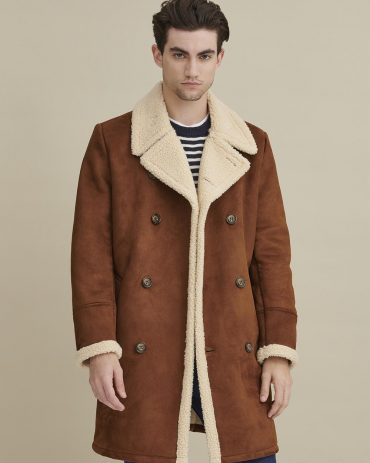 Faux Shearling Car Coat for Men Fashion Jackets Free Shipping