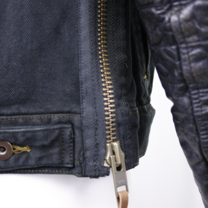 Men's Denim & Leather Sleeve Button Up Jacket Motorcycle Collection Free Shipping