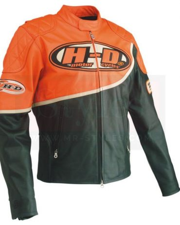 Harley Davidson Men's Speed Orange & Black Leather Racing Jacket Motorcycle Collection Free Shipping