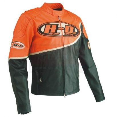 Harley Davidson Men's Speed Orange & Black Leather Racing Jacket Motorcycle Collection Free Shipping