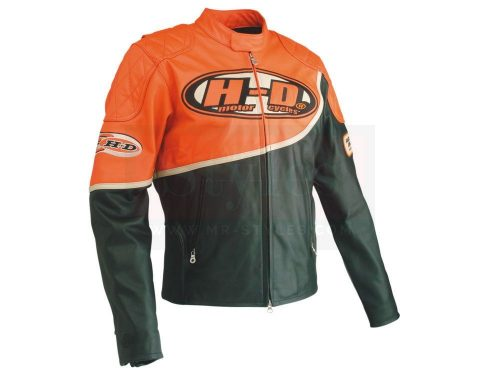 Harley Davidson Men's Speed Orange & Black Leather Racing Jacket Motorbike Jackets Free Shipping