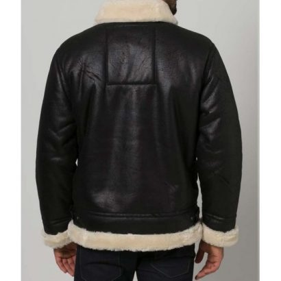 Men's Black Aviator Faux Shearling Leather Jacket Leather Bombers jackets Free Shipping