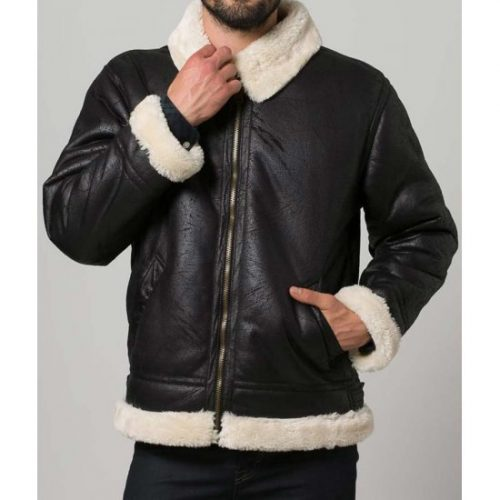 Black Avioter Faux Shearling Mens Bomber Leather Jacket Leather Bombers jackets Free Shipping