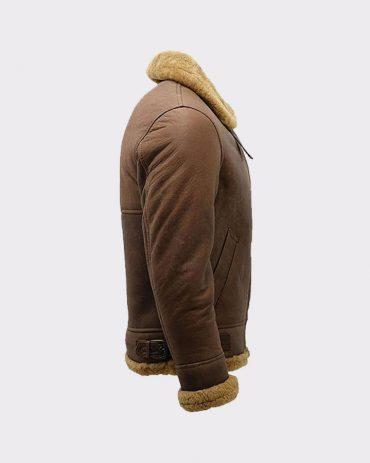Men's Brown B3 Shearling Sheepskin Ww2 Bomber Leather Flying Aviator Jacket Fashion Jackets Free Shipping