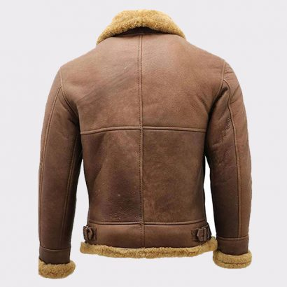 Men's Brown B3 Shearling Sheepskin Ww2 Bomber Leather Flying Aviator Jacket Fashion Jackets Free Shipping
