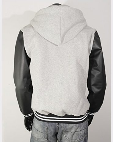 Men,s Hoodie Faux Cotton Sheepskin Leather Bomber Jacket Gray Fashion Jackets Free Shipping