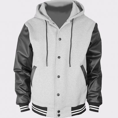 Men,s Hoodie Faux Cotton Sheepskin Leather Bomber Jacket Gray Fashion Jackets Free Shipping