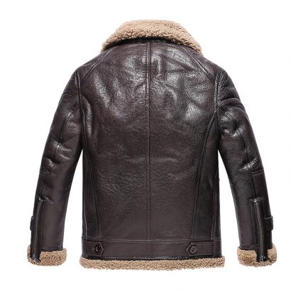 Fur Men's Leather Bomber Jacket With Shearling Fashion Collection Free Shipping