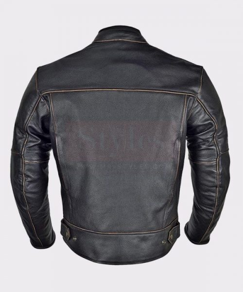 Men Motorbike Armor Leather Jacket Vintage Style Fashion Collection Free Shipping