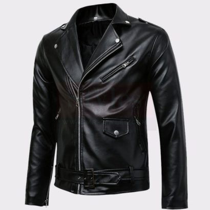 Men's Classic Police Style Real Leather Motorcycle Jacket Fashion Collection Free Shipping