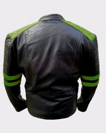 Men's Classic Vintage Motorbike Green Real Leather Jacket Fashion Collection Free Shipping