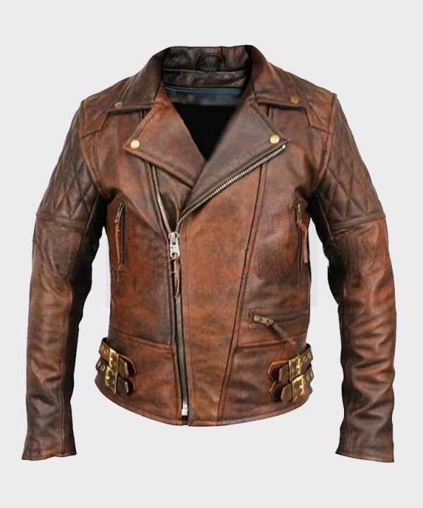 Men's Lambskin Motorcycle Bomber Leather Jacket