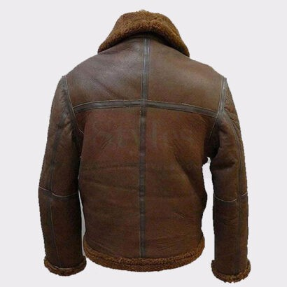 Men's Real Shearling Brown Flight Leather Bomber Jacket With Fur Leather Bombers jackets Free Shipping