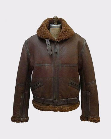 B3 MEN'S AVIATOR RAF REAL SHEARLING BROWN LEATHER FLIGHT BOMBER JACKET Leather Bombers jackets Free Shipping