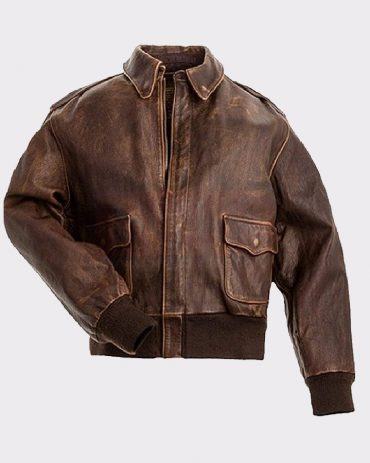 BROWN REAL LEATHER MENS BOMBER FLIGHT JACKET Leather Bombers jackets Free Shipping
