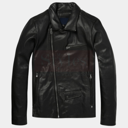 Black Leather Biker Jacket Mens Fashion Collection Free Shipping