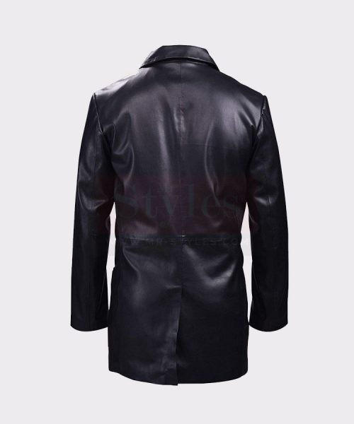 CLASSIC BLACK LEATHER BLAZER MEN'S COAT Leather Bombers jackets Free Shipping