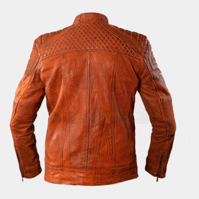 Cafe Racer Classic Cult Waxed Brown Leather Jacket Fashion Collection Free Shipping