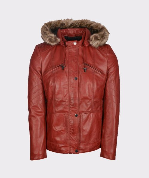 HOODED WOMEN WINTER STYLISH LEATHER RED COAT Leather Bombers jackets Free Shipping