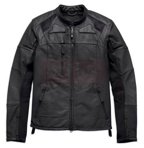 Harley-Davidson Men's FXRG Perforated Slim Fit Leather Jacket Fashion Collection Free Shipping