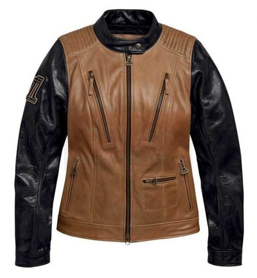 Harley-Davidson Womens Arterial Colorblocked Buffalo Leather Jacket Fashion Collection Free Shipping