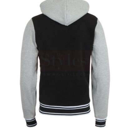 Hooded Varsity Black Jacket Fashion Jackets Free Shipping