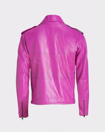 JESSICA ALBA CELEBRITY PINK LADIES LEATHER JACKET Leather Bombers jackets Free Shipping