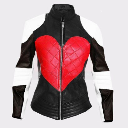 Ladies Beautiful Heart excelled leather bomber jacket Leather Bombers jackets Free Shipping