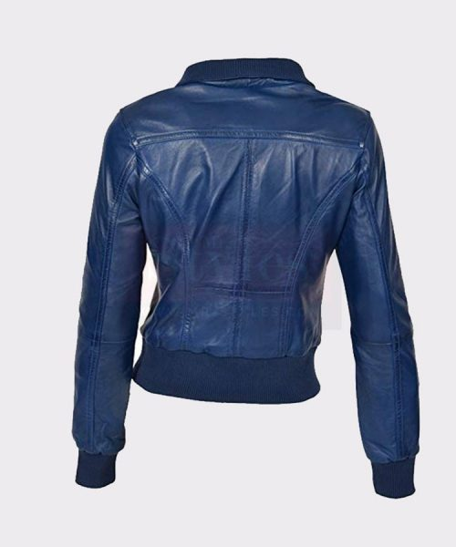 Bomber Jacket Leather Sleeves Short Slim Fit Casual Blue Leather Bombers jackets Free Shipping