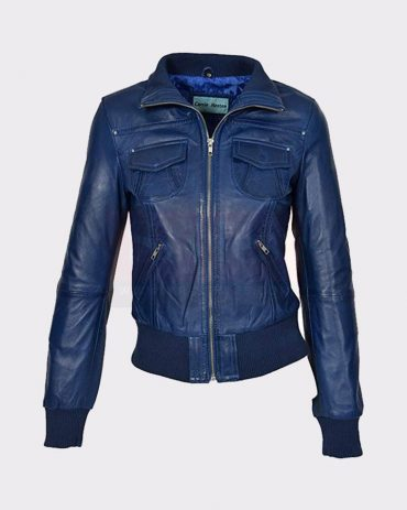 LADIES BOMBER REAL LEATHER JACKET SHORT SLIM FIT CASUAL BLUE Leather Bombers jackets Free Shipping