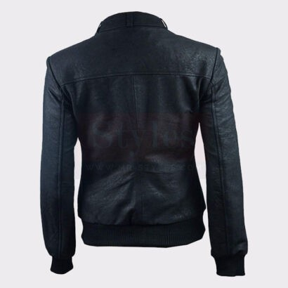Ladies Distressed Fashion Black Leather Bomber Jacket Women Leather Bombers jackets Free Shipping