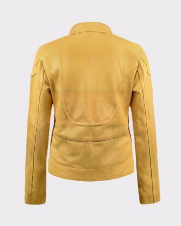 LADIES MEGAN FOX TEENAGE MUTANT NINJA TURTLES YELLOW LEATHER JACKET Leather Bombers jackets Free Shipping