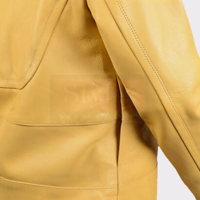 Ladies Yellow vintage leather bomber jacket Leather Bombers jackets Free Shipping