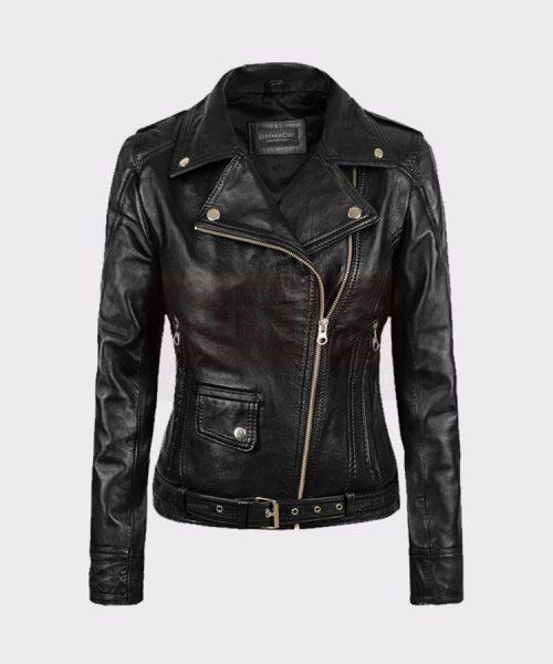 Ladies Fashion Biker Black Leather Bomber Jacket Leather Bombers jackets Free Shipping