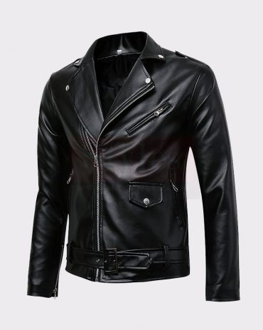MEN'S CLASSIC POLICE STYLE REAL LEATHER MOTORCYCLE JACKET Leather Bombers jackets Free Shipping
