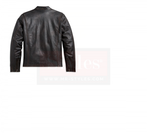 Men's Sleeve Stripe Leather Jacket Fashion Collection Free Shipping