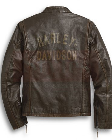 Handsome Boys Harley Davidson Brown Leather Jacket Men Fashion Collection Free Shipping