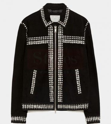 Mr-Styles Suede Leather Fashion Jacket with Studs Free Shipping