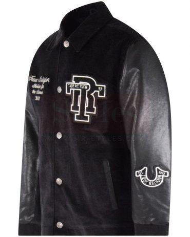 Onyx Black Collared Varsity Jacket Fashion Jackets Free Shipping