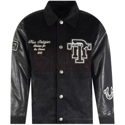 Onyx Black Collared Varsity Jacket Fashion Jackets Free Shipping
