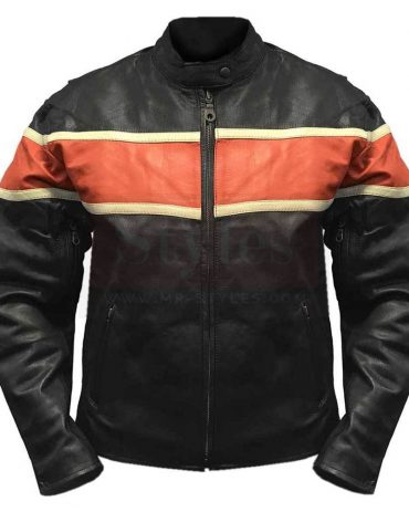Redline Men's Orange Stripe Cowhide Leather Motorcycle Jacket Fashion Collection Free Shipping