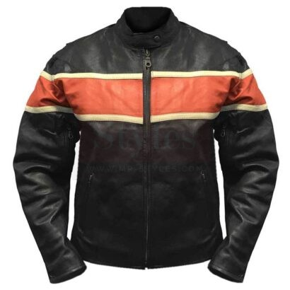 Redline Men's Orange Stripe Cowhide Leather Motorcycle Jacket Fashion Collection Free Shipping