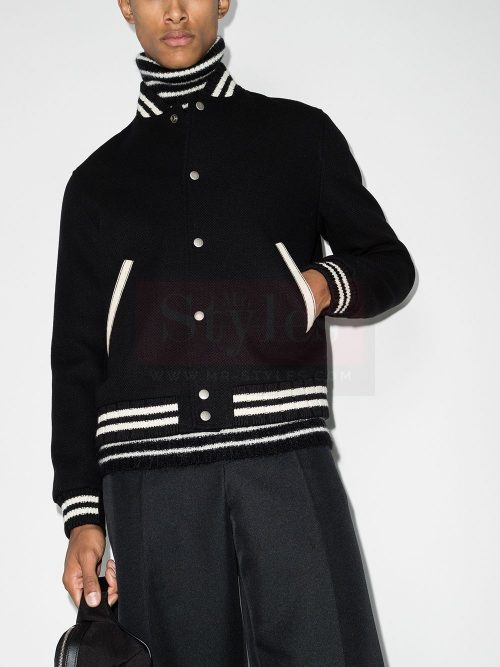 Saint Laurent logo-embroidered varsity jacket Fashion Jackets Free Shipping